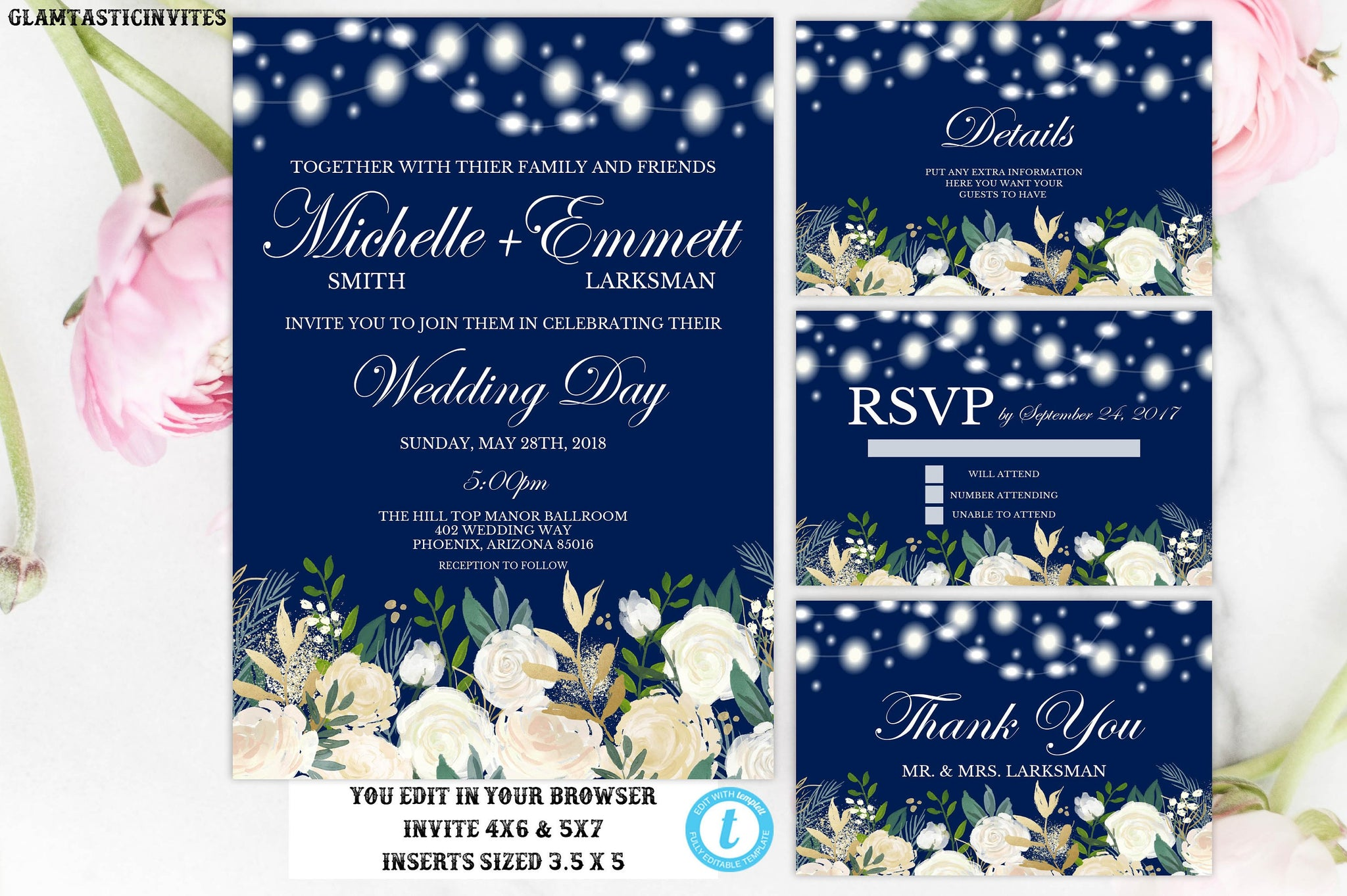 Wedding Invitation Suite Template, Blue, White Rose, Floral, Blue and White Wedding Invitation, Instant Download, Editable, Printable, Gold