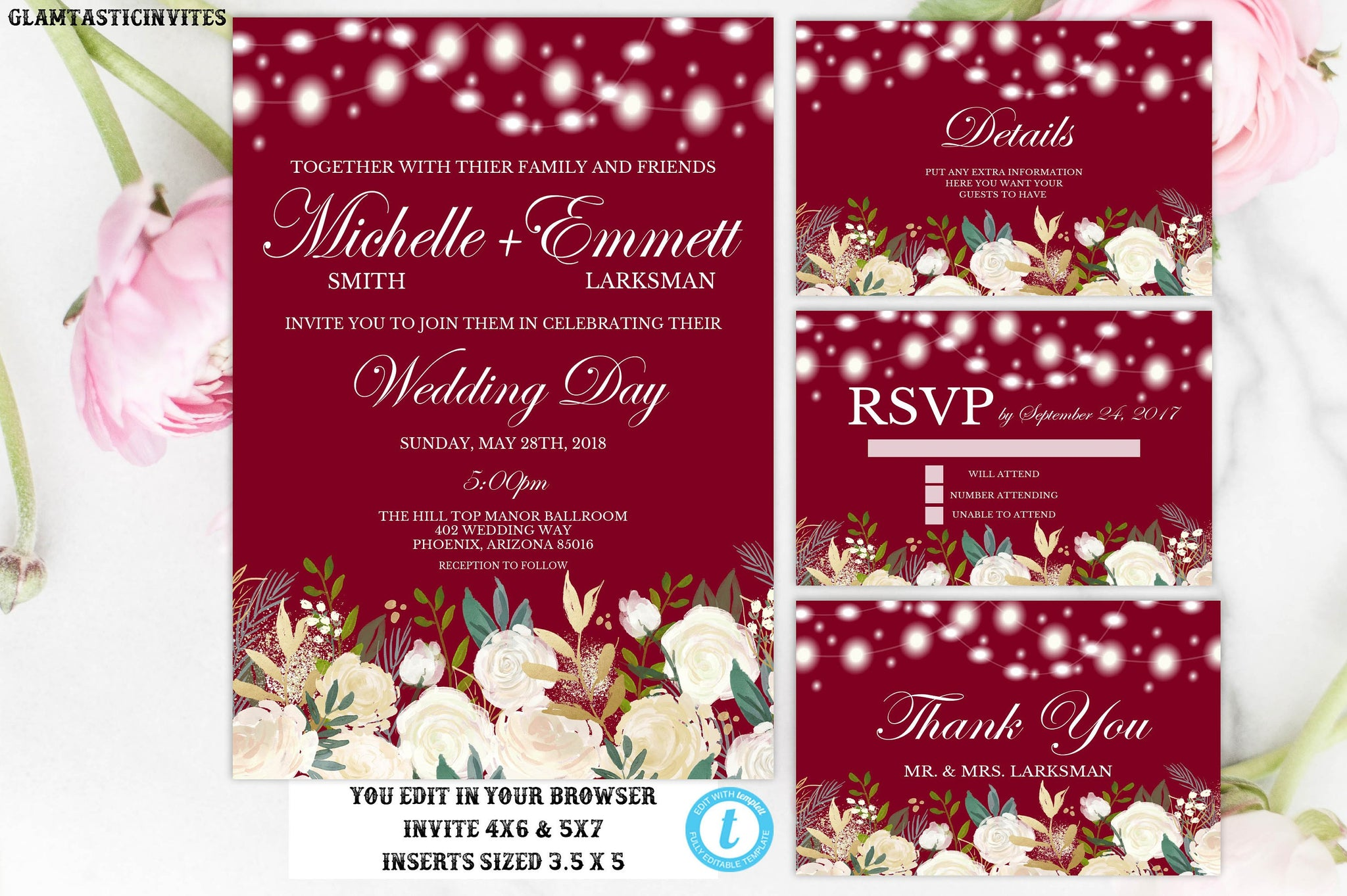 Burgundy White Rose Floral Wedding Invitation Printable Template, Instant Download, Editable, Burgundy, Rose, Wedding Invitation, Template