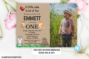 Woodland Birthday Invitation Template Editable Printable Rustic Kraft First Birthday Any Age Instant Download Boy, Woodland Invitation, 1st