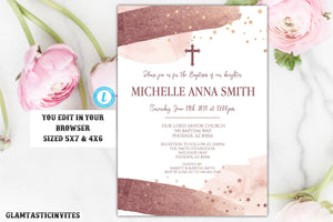 Rose Gold Watercolor Baptism Invitation Template Instant Download Editable Printable Girl Communion Dedication Christening Religious Gold