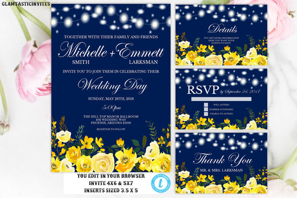 Wedding Invitation Suite Template, Blue, Yellow Rose, Floral, Blue and Yellow, Instant Download, Editable, Cheap Online Wedding  Invitations