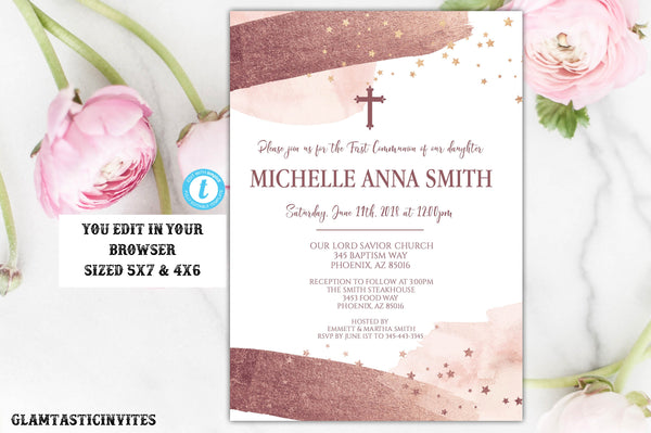 First Communion Girl Invitation Template Watercolor Rose Gold Instant Download Editable Printable Religious, First Communion Invitation, DIY