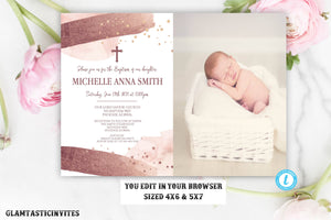 Girl Baptism Invitation Template Watercolor Rose Gold Instant Download Editable Printable Glitter Gold Religious First Communion Dedication