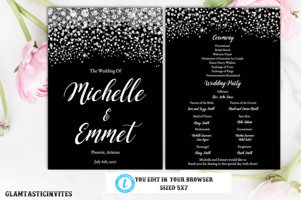 Wedding Program, Wedding Program Template, Editable, Printable, Instant Download, Diamond, Black and Silver, Order of Ceremony, DIY Program