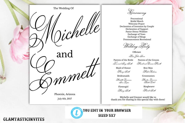 Printable Wedding Program, Order of Ceremony, Instant Download, Editable, Printable, DIY Wedding, Program Template, DIY Wedding Program, DIY