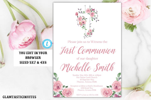 Girl First Communion Invitation Template Rose Watercolor Pink Instant Download Editable Printable Dedication Baptism Christening Floral DIY