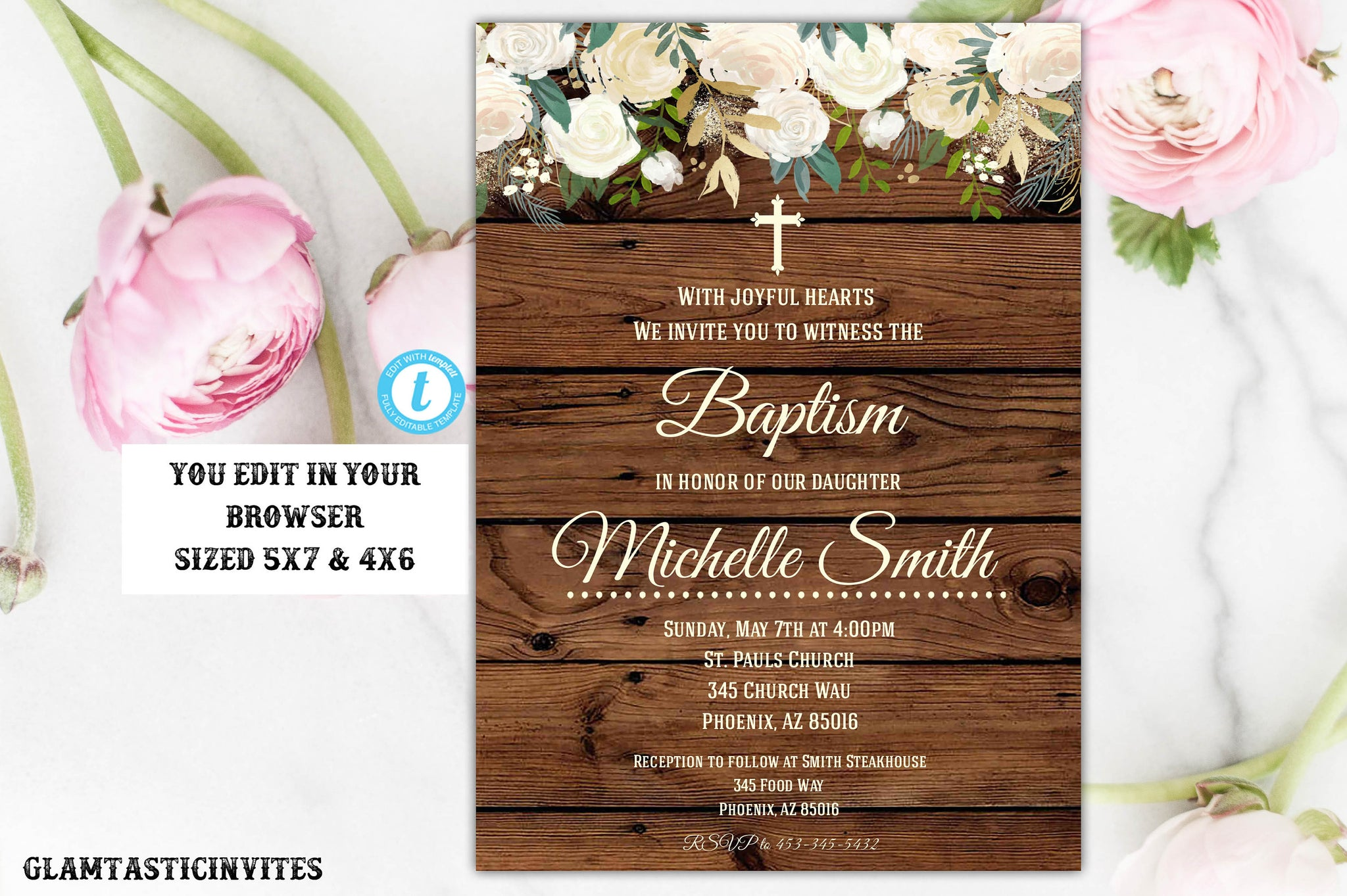 Rustic Floral Baptism Invitation, Baptism Invitation Printable, Girl Baptism Template, Printable Baptism Invitation, White, Communion, DIY