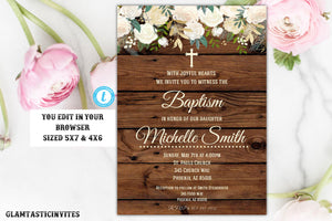 Rustic Floral Baptism Invitation Printable Girl Template