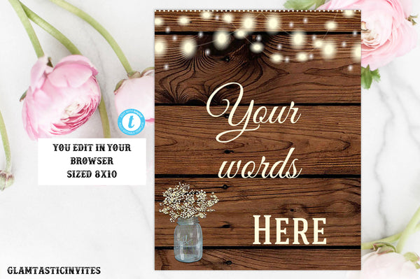 Editable Custom Quote Sign, Editable Wedding Sign Template, Rustic Template, Wedding Sign, Shower Sign, Personalized, Editable, Typography