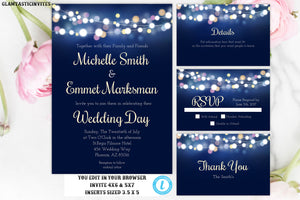 Wedding Invitation, Navy Blue Wedding Invitation, Wedding Invitation Template, Elegant Wedding Invitation, Wedding Template Set, YOU EDIT