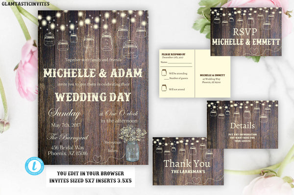 YOU EDIT Wedding Invitation Template, Cheap Online Wedding Invitations, Rustic Wedding Invitation, Instant Download, Editable, Printable,DIY
