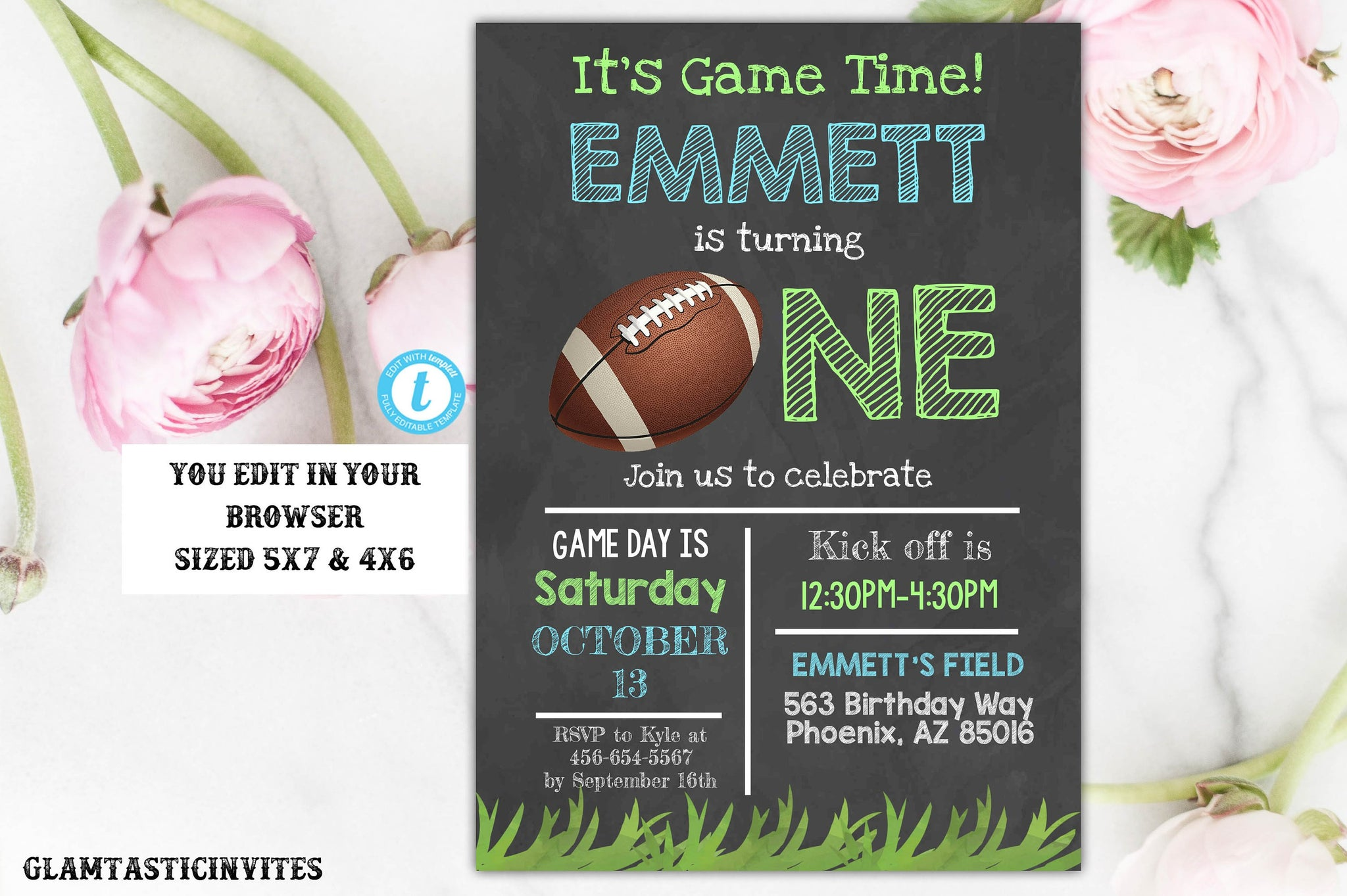 Football Sports Birthday Invitation Template Chalkboard Birthday, Football Invitation, Birthday Invitation, Editable Printable, Football