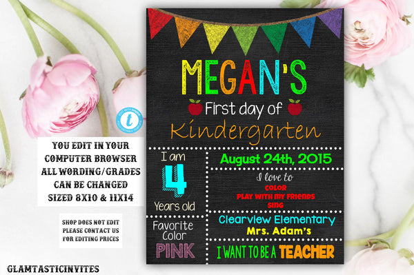 First Day of School Sign, Back to School, Third Grade, First Grade, Second Grade, Nursery, Preschool, Elementary School, Template, Editable