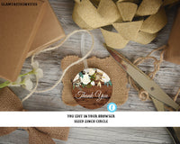 Rustic Boho Thank You Circle Favors Tags Stickers Template Instant Download Editable Printable Country Vintage White Rose, Thank You Tag