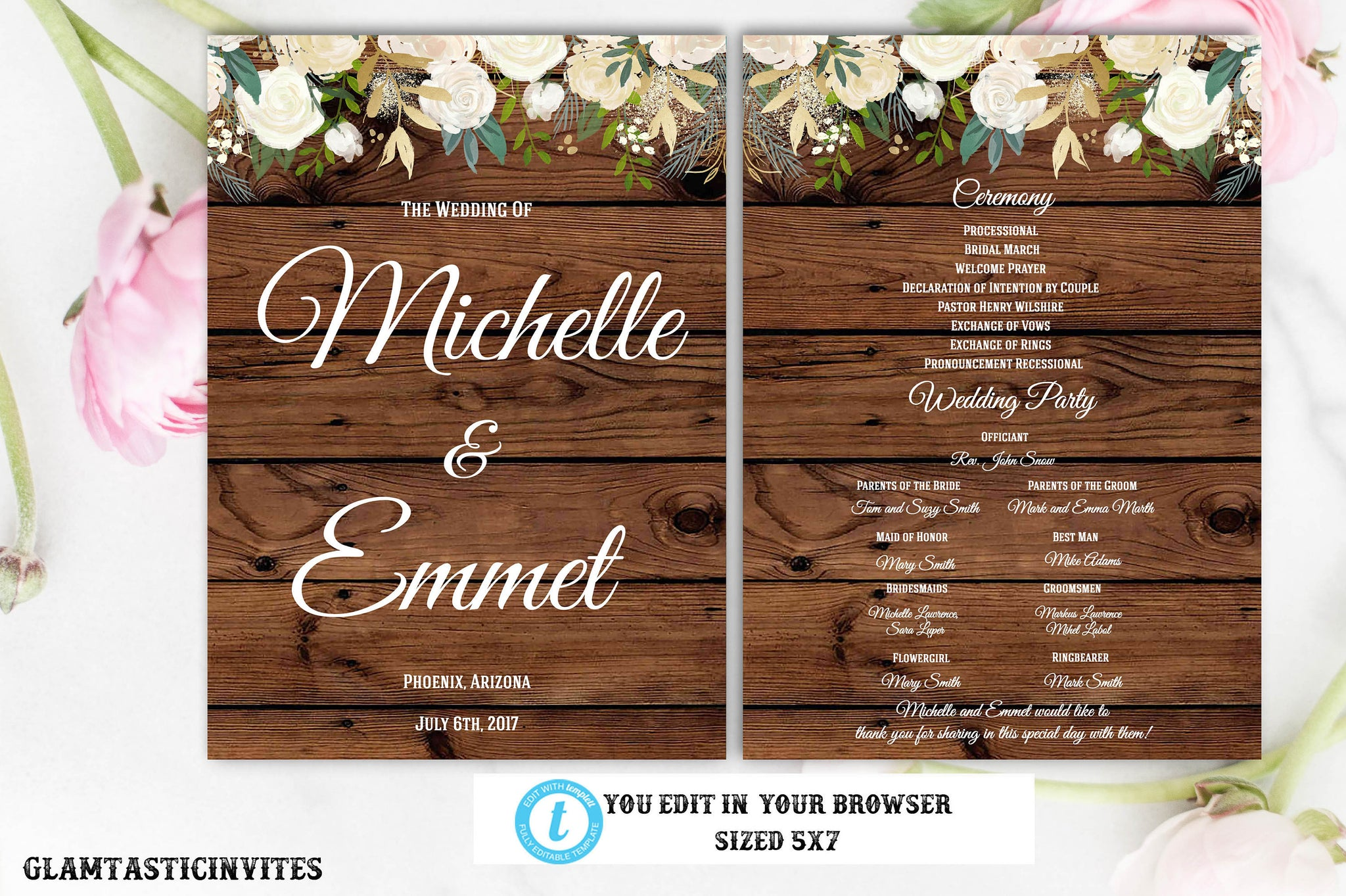 Rustic Boho Floral Wedding Ceremony Program Template White Rose Country Vintage Editable Printable Instant Download Wedding Program Template