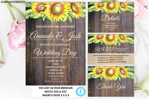 Sunflower Wedding Invitation TEMPLATE, Sunflower Wedding Invitation, Instant Download, Sunflower, Editable, Printable, DIY Wedding, Template