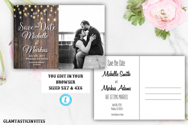 graphic about Printable Save the Date known as Rustic Conserve-The-Dates, Printable Rustic Conserve the Day Postcard, Help you save the Day, Rustic Wedding day, Printable Help you save the Day, Template, On your own EDIT