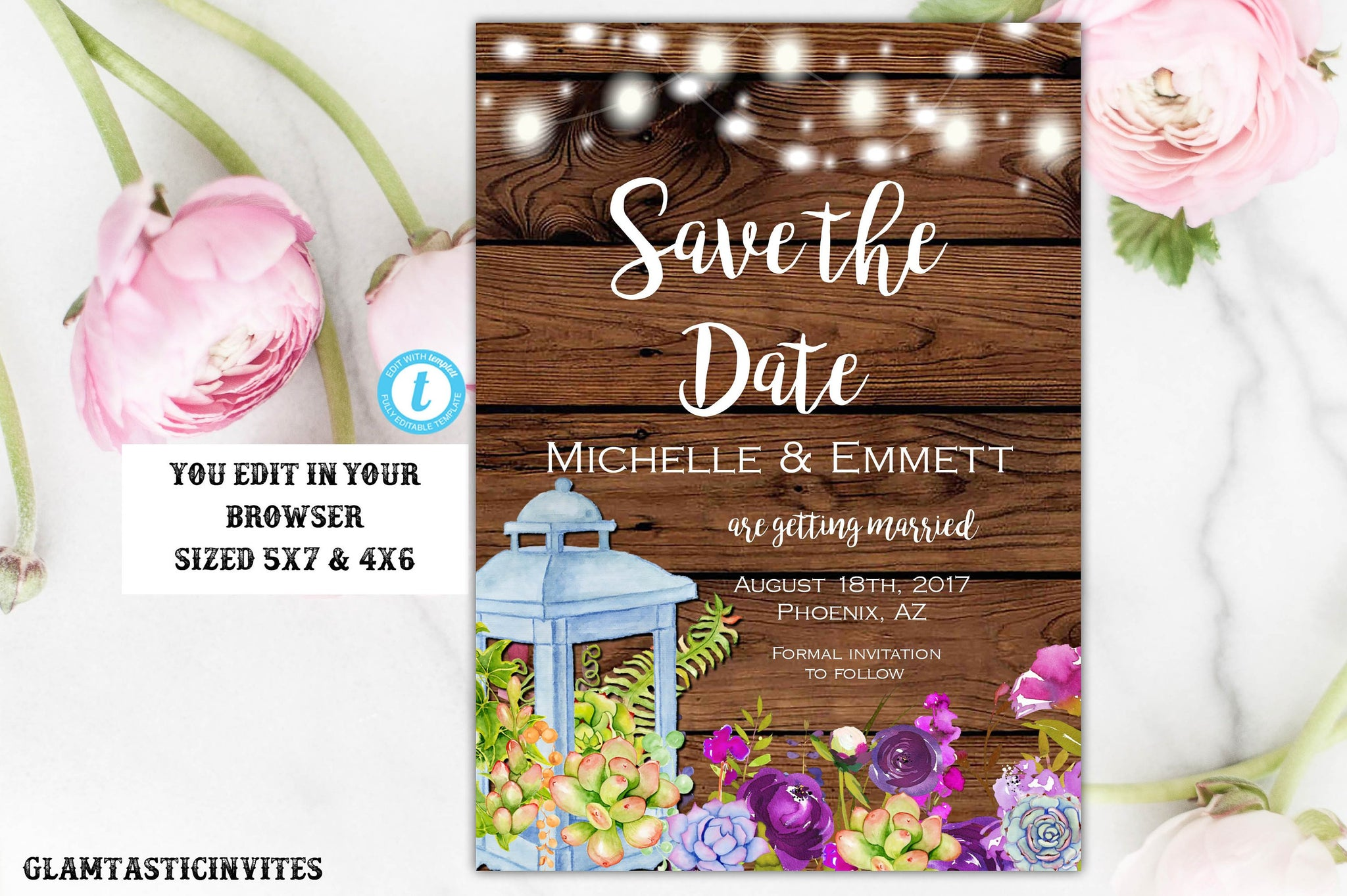 Rustic Boho Save the Date Card Postcard Template Succulent Lantern Purple Floral Flower Editable Printable Country Vintage, Save our Date