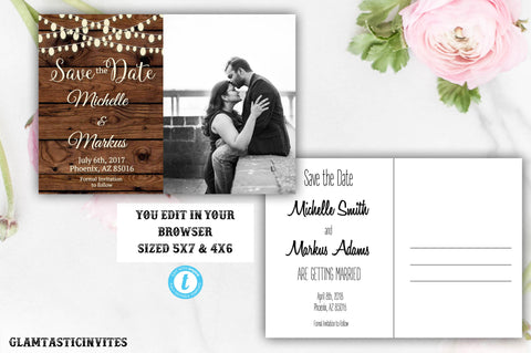 Rustic Country Vintage Save the Date Postcard Card Template Editable Printable Outdoor Barnyard, Wedding, DIY Save the Date, Save our Date