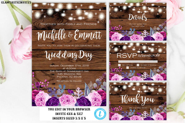 Rustic Floral Vintage Country Wedding Invitation, Wedding Template, Rustic, Boho, Rustic Wedding, Instant Download, Template, DIY, You Edit