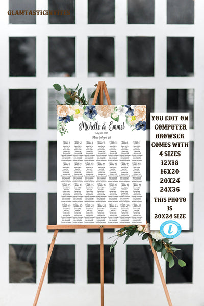 Navy Blue Peach Floral Seating Chart Table Chart Template Wedding Flower Editable Printable Boho Watercolor DIY Calligraphy Script Modern