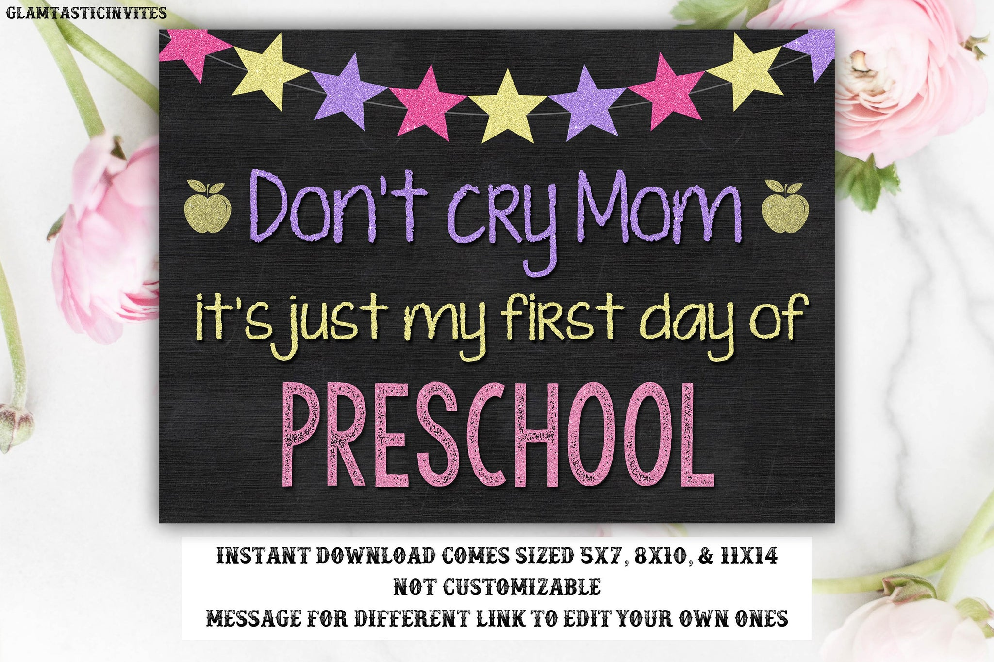 Don't Cry Mom Sign, First Day of Preschool, First Day School Sign, Instant Download, You Print, Don'r Cry Mommy it's Just my First Day Sign