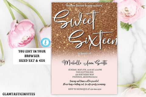 Rose Gold Glitter Sweet Sixteen Birthday Party Invitation Template, Editable, Instant download, Rose Gold, Sweet 16, Sweet Sixteen, DIY