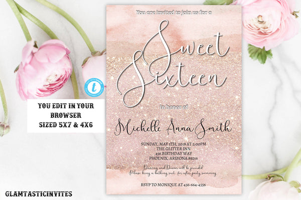 Watercolor Rose Gold Glitter Sweet Sixteen Birthday Party Invitation Template, Editable Instant download, Rose Gold, Sweet 16, Sweet Sixteen