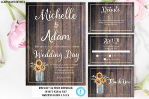 Wedding Invitation Template, Country Wedding Invition, Rustic Wedding InviteTemplate , wedding invitation suite, Rustic Wedding Template