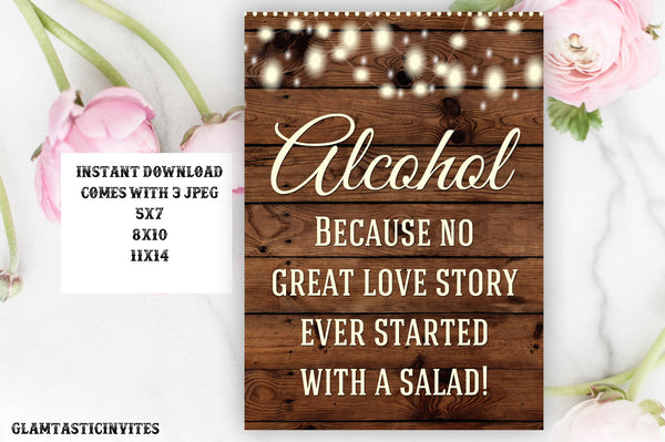 Printable Wedding Sign, Alcohol Sign, Rustic Wedding Sign, Printable Sign, Wedding Sign, Rustic Wedding, Wood Sign, Digital Sign