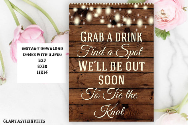 Printable Wedding Sign, Grab a Drink Sign, Rustic Wedding Sign, Printable Sign, Wedding Sign, Rustic Wedding, Wood Sign, Digital Sign