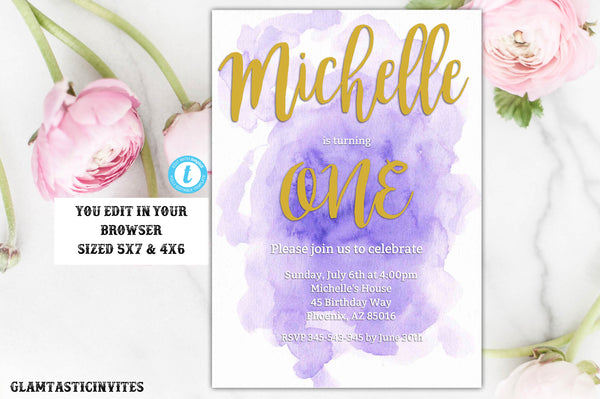 Watercolor Birthday Invitation, First Birthday Invitation, Purple Watercolor Invitation, Birthday Template, Editable Invitation, Watercolor