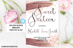 Sweet Sixteen Birthday Invitation, Rose Gold Watercolor Birthday Invitation Template, Instant Download, Editable, Printable, Sweet 16 Invite