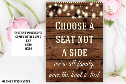 Printable Wedding Sign, Choose a Seat not a Side, Rustic Wedding Sign, Printable Sign, Wedding Sign, Rustic Wedding, Wood Sign, Digital Sign
