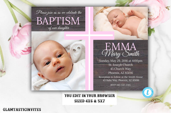 Rustic Baptism Invitation, Template, Baptism Invitation Printable, Girl Baptism Invitation, Rustic Template, Invite Girl, You Edit, Baptism