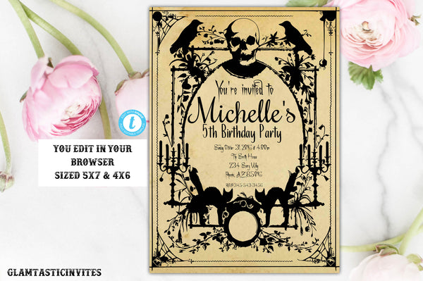 Halloween Birthday Invitation Template Editable Printable Spooky Vintage Creepy Adult Kid Child Spooktacular Haunted House, Halloween, Fall