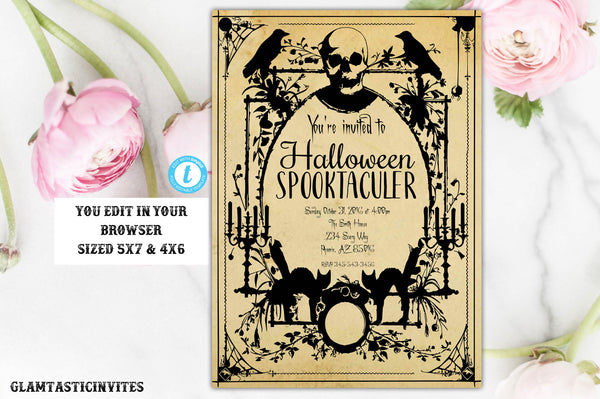 Halloween Invitation, Halloween Party Invitation, Halloween, Scary Halloween Invitation, Halloween Party, Halloween Template, YOU EDIT