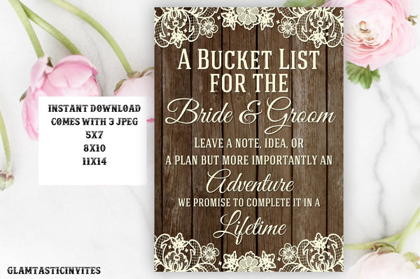 Bucket List Sign, Bar Sign, Rustic Wedding Sign, Printable Sign, Shower Sign, Rustic Wedding, Rustic Sign, Digital Sign, Rustic Bucket List