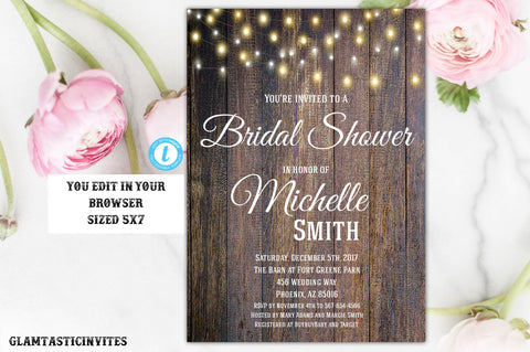 Rustic Bridal Shower Invitation, Rustic Invitation, Country Bridal Shower, Flower Invitation, Bridal Shower Invitation, INSTANT DOWNLOAD