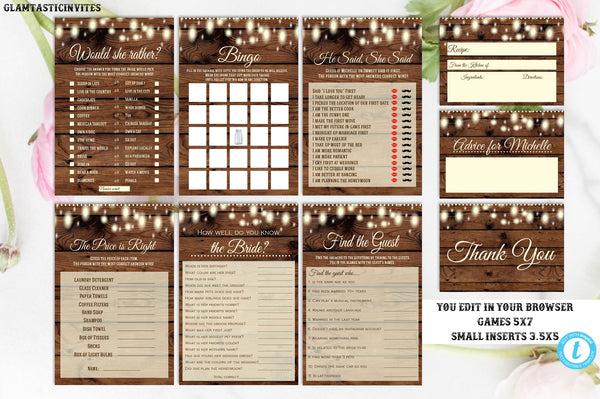 Rustic Bridal Shower Game Package Template Instant Download Editable Printable Country Vintage, Advice for Bride, Find the Guest, Bingo, DIY