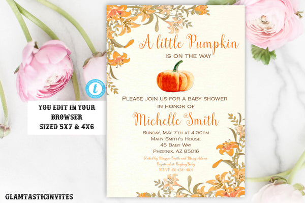 Pumpkin Baby Shower Invite, Little Pumpkin Baby Shower Invitation, Fall Baby Shower Invite, Baby Shower Template, Thanksgiving Invitation