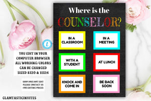 Where is the Counselor Sign Template, Counselor, Chalkboard, Editable, Printable, Teacher Sign, Where is the Sign, Classroom Decor, Teacher