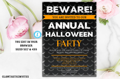 Halloween Party Invitation, Halloween Invitations, Halloween Office, Spooktacular, Kids Halloween Party Invitation, Halloween Birthday Party