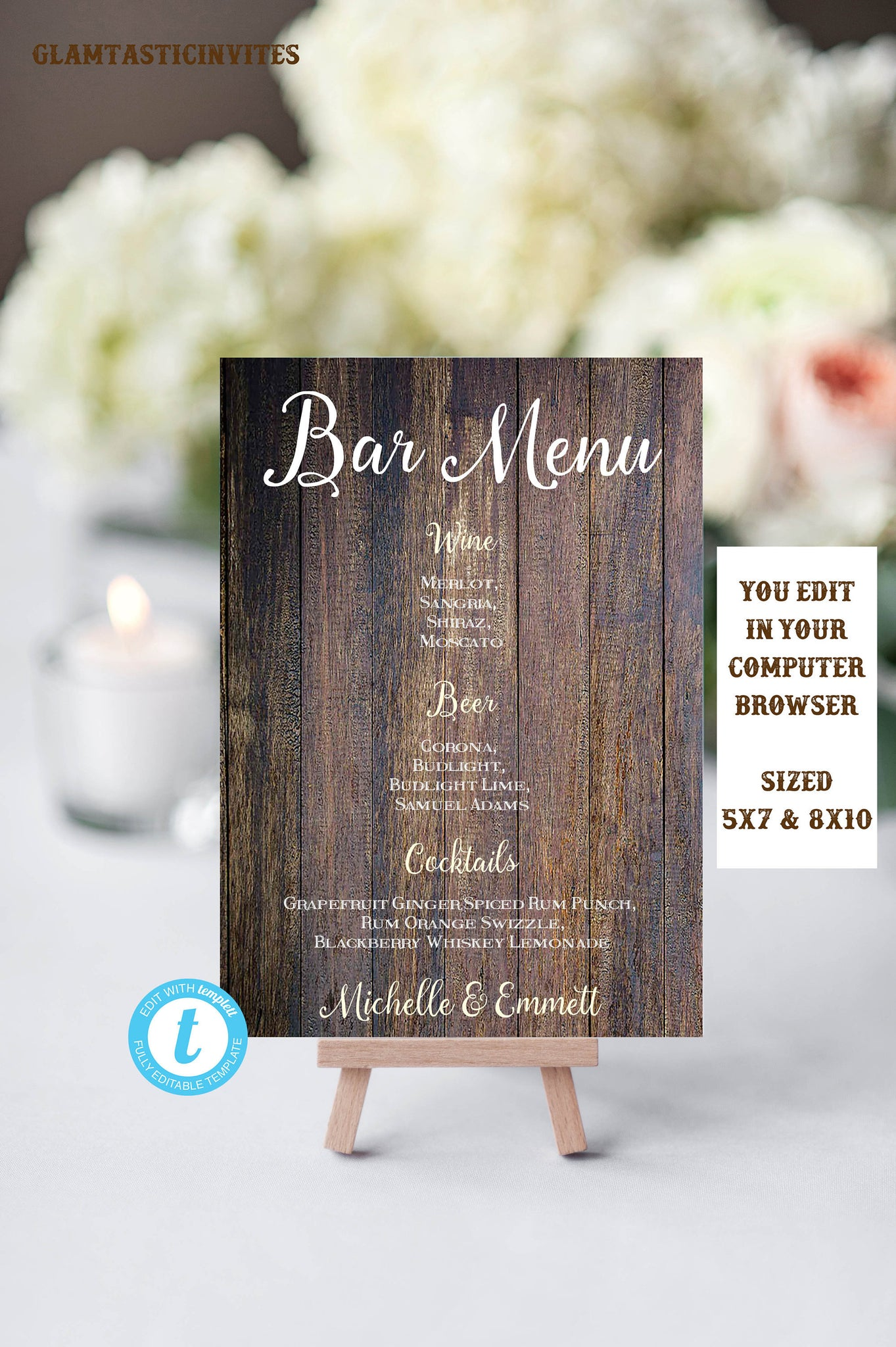 Rustic Bar Template Sign, Wedding Bar Sign, Bar Decor, Rustic Wedding Sign, Template, Instant Download Editable Printable, Country, Rustic