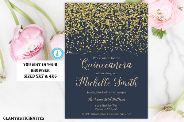 Navy Blue Gold Quinceañera Invitation Template, Quinceañera Invitation, Quinceañera, Instant Download, Editable, Printable, 15th Birthday