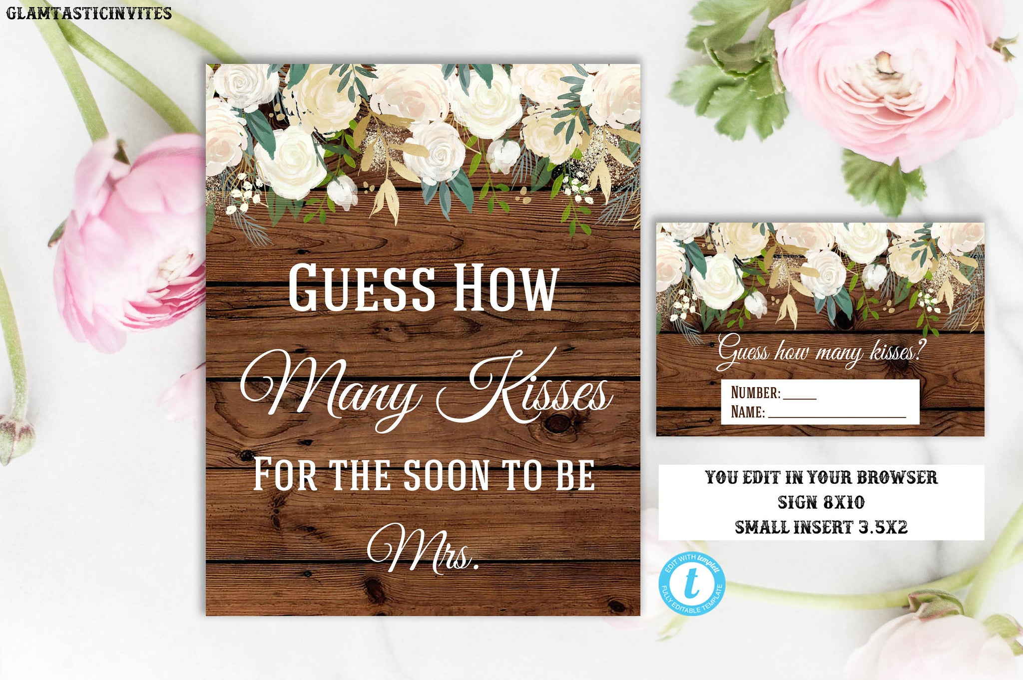 Rustic Guess How Many Kisses Sign Game Template Instant Download Print Glamtasticinvites
