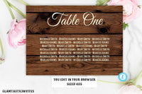 Editable Wedding Table chart Rustic Wedding Seating Chart Sign Template, Printable Wedding Table chart, Rustic Country Vintage Table Signs