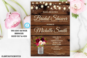 Rustic Boho Bridal Shower Invitation Template Instant Download Editable Printable Country Vintage Floral Flower, Editable Shower Invitation