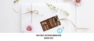 Rustic Boho Burgundy Bridal Shower Thank You Tags Template Instant Download Editable Printable Country Vintage Wine, Bridal Shower Favor Tag