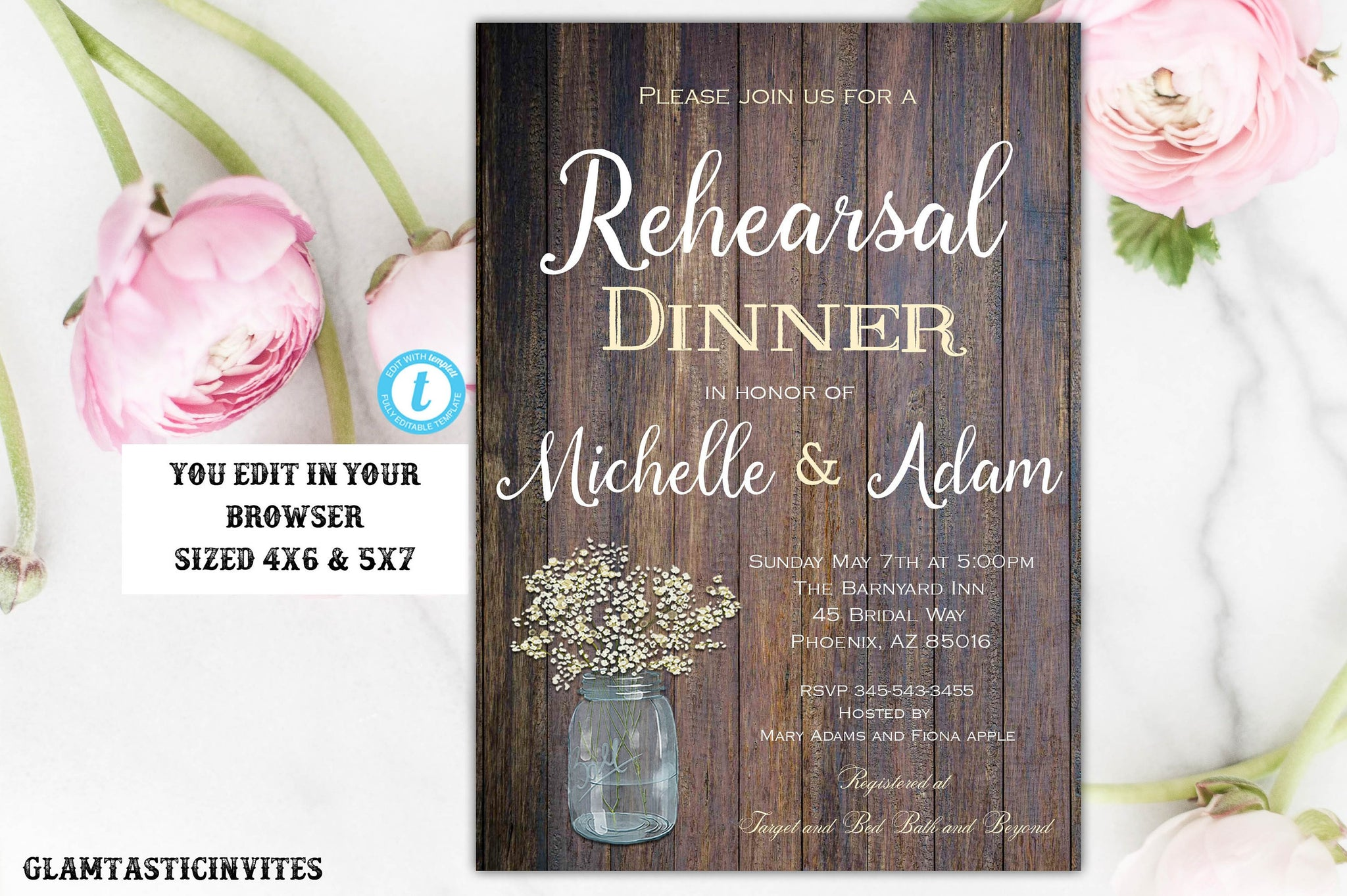 Rustic Country Vintage Rehearsal Dinner Invitation Template Instant Download Editable Printable Floral Flower, Rustic, Rehearsal Dinner, DIY
